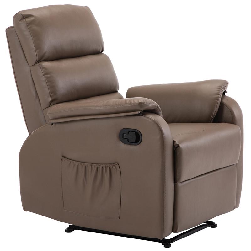 Πολυθρόνα relax COMFORT με επένδυση από PU σε χρώμα cappuccino Ε9732,4