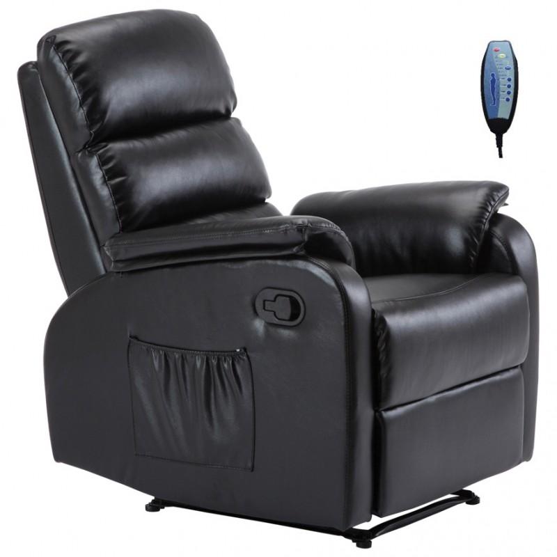 Πολυθρόνα massage COMFORT με επένδυση από μαύρο PU