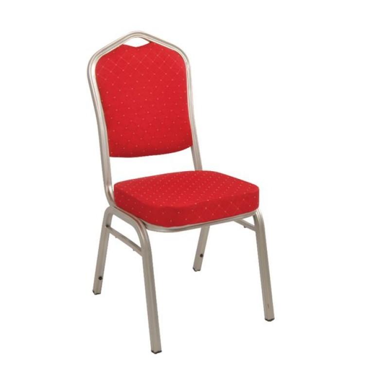 Καρέκλα catering Hilton με ασημί μεταλλικό σκελετό και ύφασμα σε κόκκινο χρώμα EM513,5