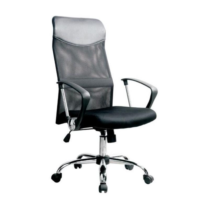 Καρέκλα τροχήλατη γραφείου με δίχτυ στην πλάτη σε μαύρο χρώμα και κάθισμα PVC EO502.1 / BF2400
