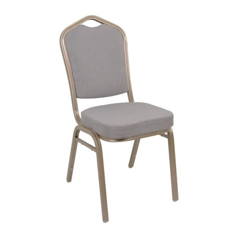 Καρέκλα catering Hilton με Light Gold μεταλλικό σκελετό και ύφασμα σε γκρί χρώμα EM513,51
