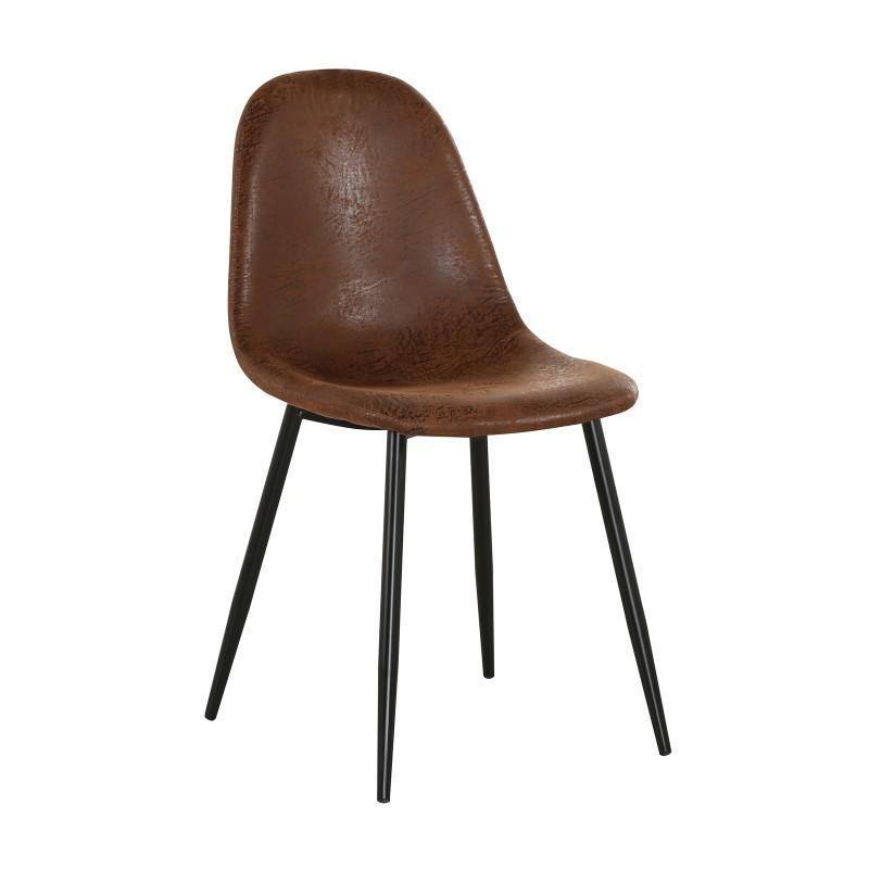 Καρέκλα Celina με μεταλλικό σκελετό σε μαύρο χρώμα και κάθισμα ύφασμα suede καφέ EM908.1