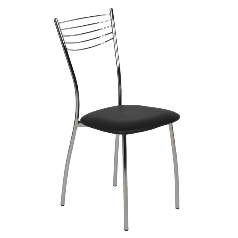 Καρέκλα MALAGA με σκελετό χρωμίου και κάθισμα από τεχνόδερμα PU σε μαύρο χρώμα 01.01.0607