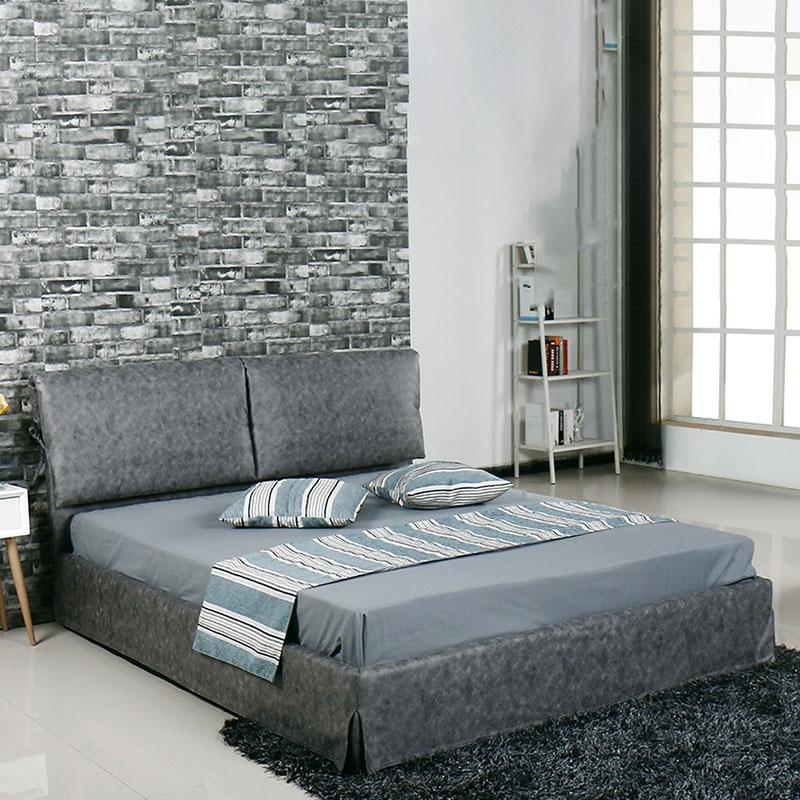 Κρεβάτι διπλό TELCO με επένδυση από ύφασμα σε χρώμα γκρι 160x200εκ. Ε8083,2