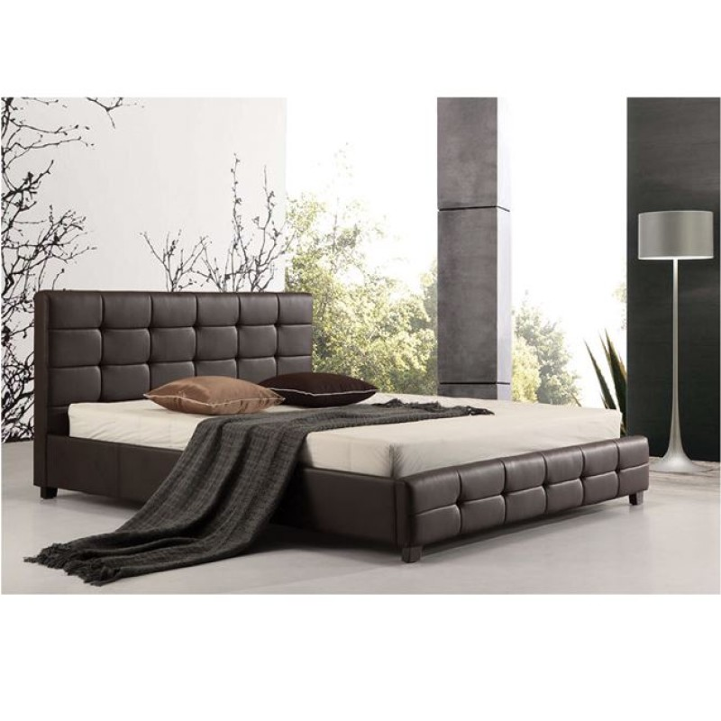 Κρεβάτι διπλό FIDEL με επένδυση απο τεχνόδερμα σε σκ. καφέ χρώμα E8053.2