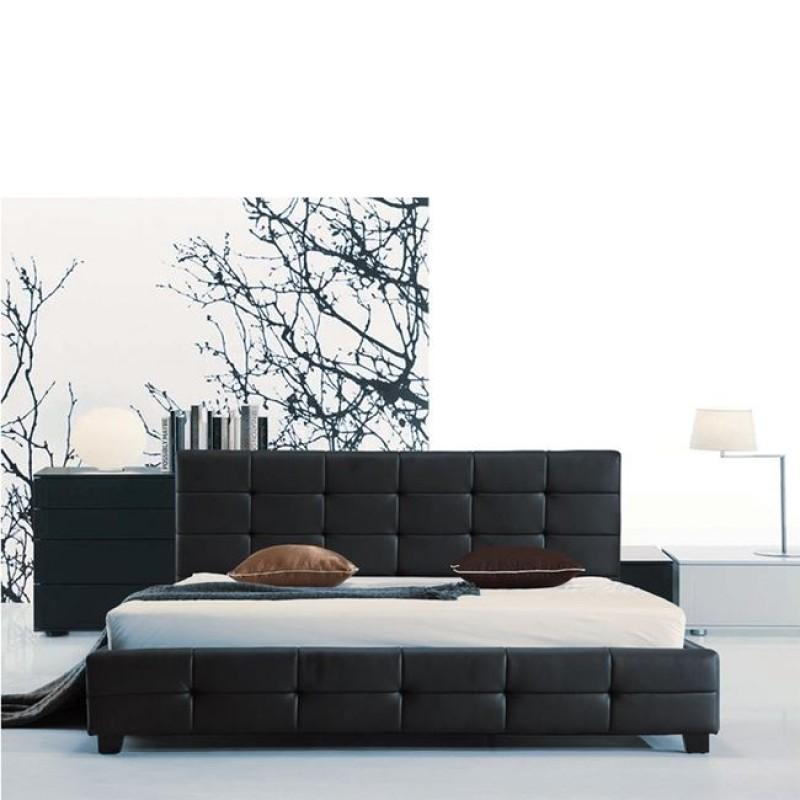 Κρεβάτι διπλό FIDEL με επένδυση απο τεχνόδερμα σε μαύρο χρώμα E8053