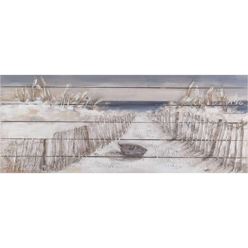 """Πίνακας """"Βάρκα σε παραλία"""" σε καμβά 70x140εκ"""
