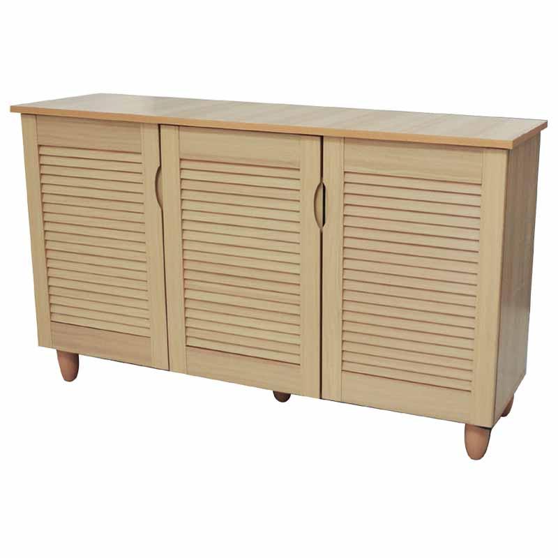 Παπουτσοθήκη ξύλινη με 3 ντουλάπια 114x34x68εκ. σε φυσικό χρώμα E8373.1