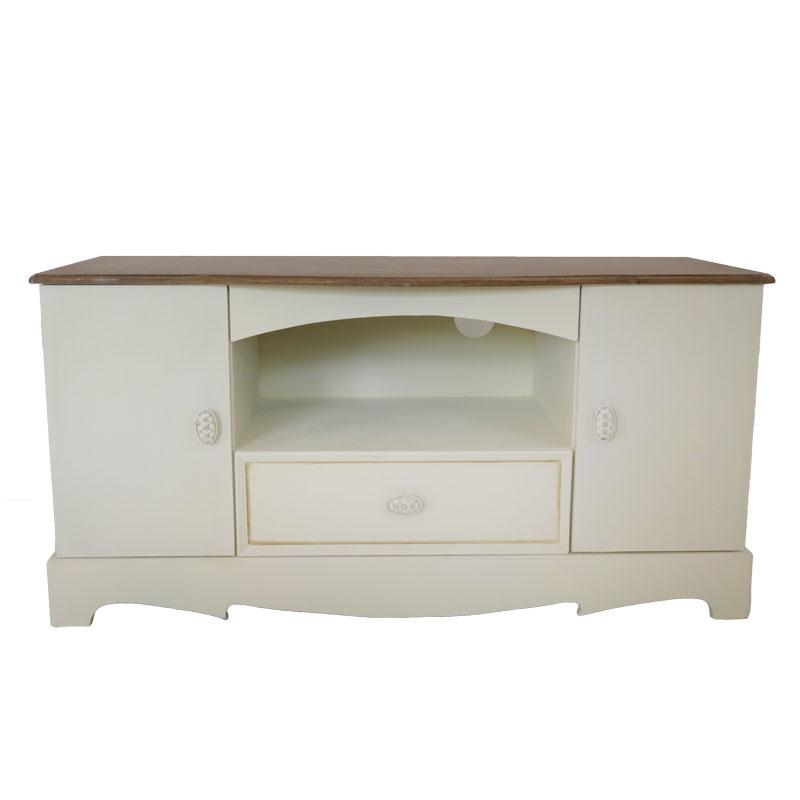 Έπιπλο τηλεόρασης με 2 ντουλάπια και 1 συρτάρι σε χρώμα antique cream και καφέ επιφάνεια 01.01.0778