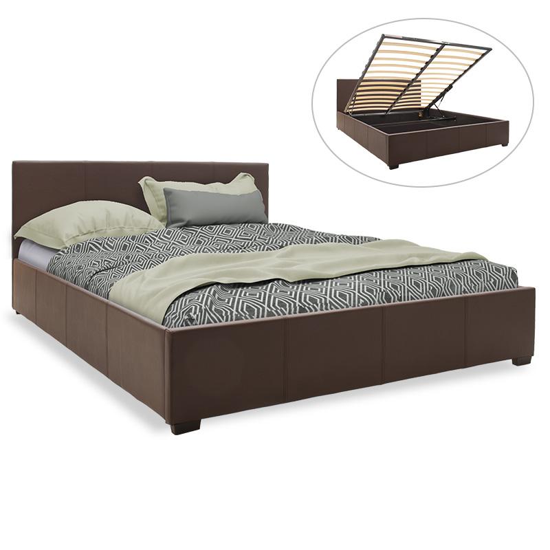 Κρεβάτι Norse Pakoworld Διπλό Pu Σκούρο Καφέ Ματ Με Αποθηκευτικό Χώρο 160X200Εκ