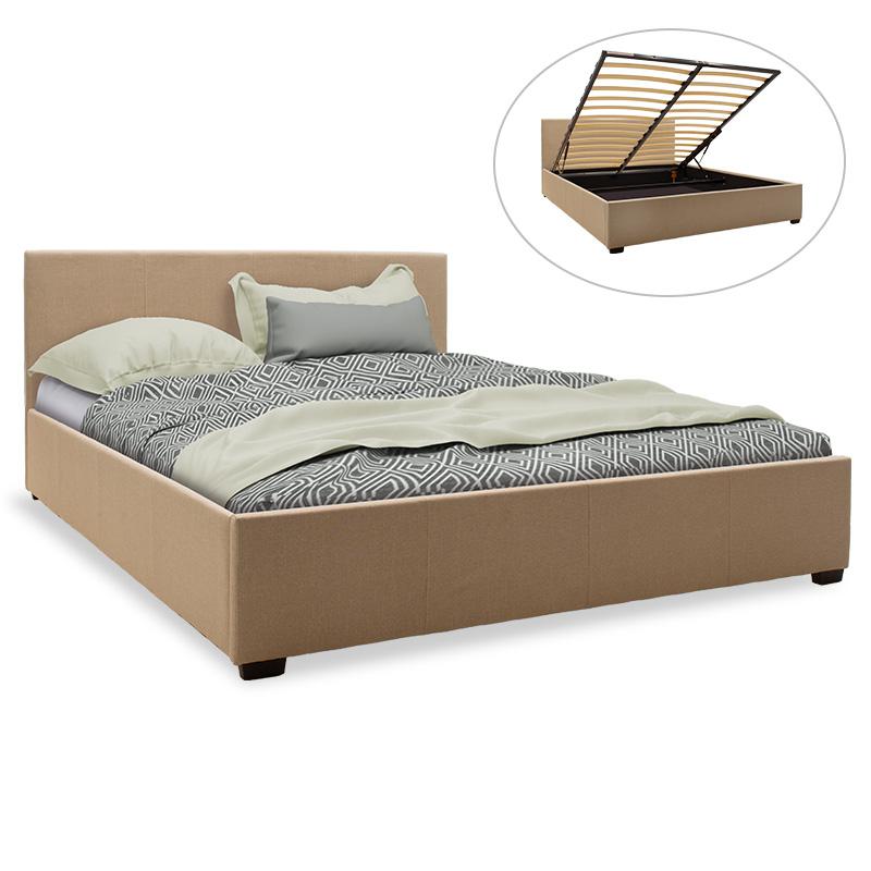 Κρεβάτι Norse Pakoworld Διπλό Ύφασμα Μπεζ Με Αποθηκευτικό Χώρο 160X200Εκ