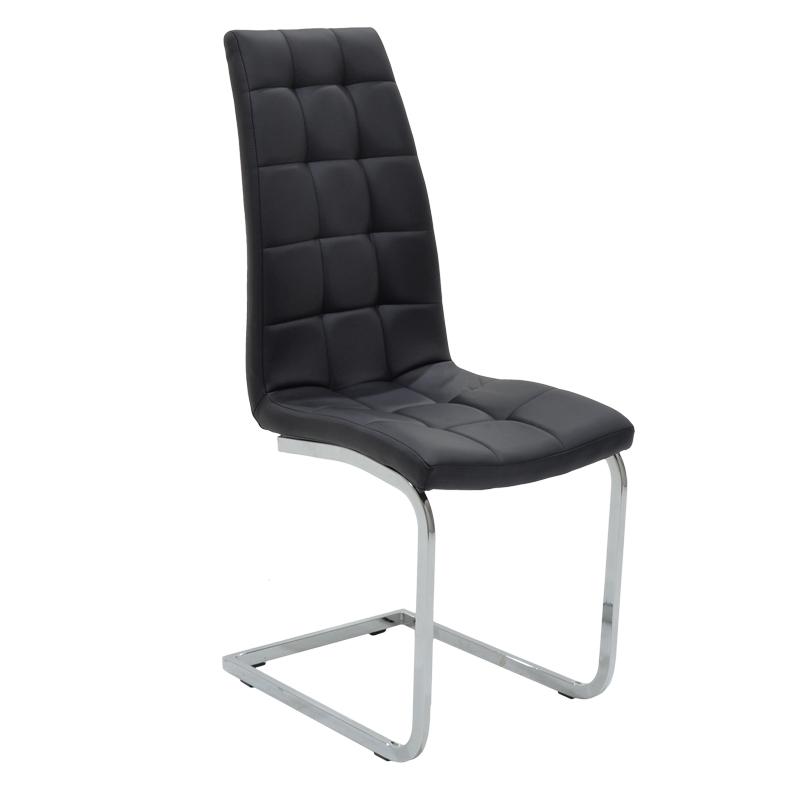 Καρέκλα Darrell Μεταλλική Χρωμίου Με Pu Μαύρο