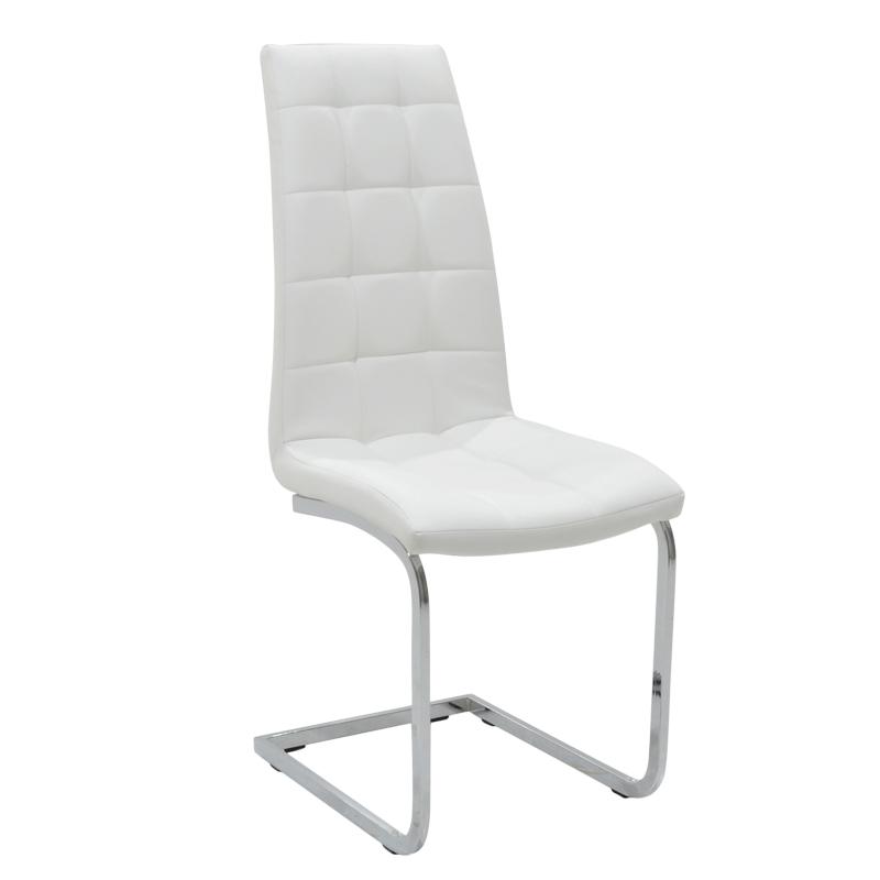 Καρέκλα Darrell Μεταλλική Χρωμίου Pu Λευκό