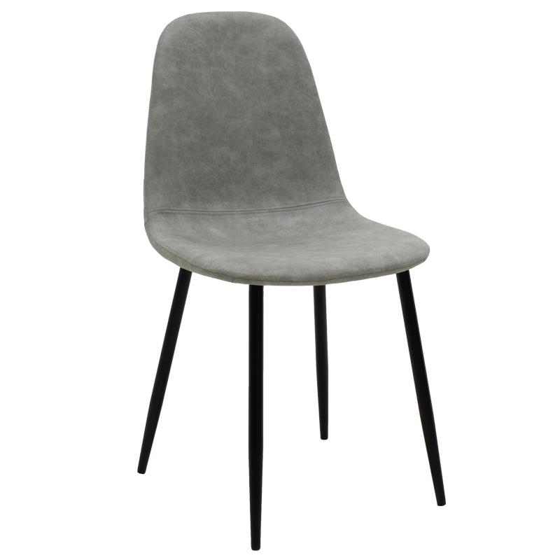 Καρέκλα Bella Μεταλλική Μαύρη Με Pu Antique Γκρι