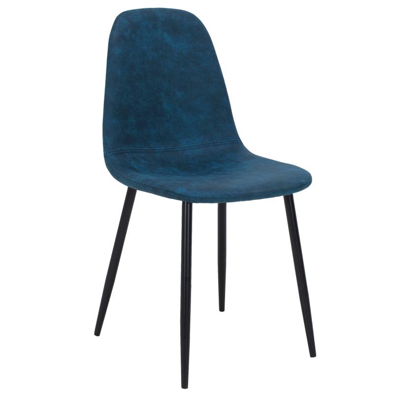 Καρέκλα Bella Μεταλλική Μαύρη Με Pu Antique Σκούρο Μπλε