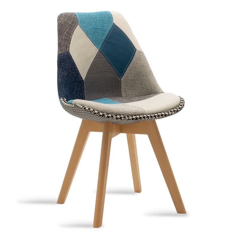 Καρέκλα Gaston Pakoworld Ύφασμα Patchwork Μπλε Γκρι - Φυσικό