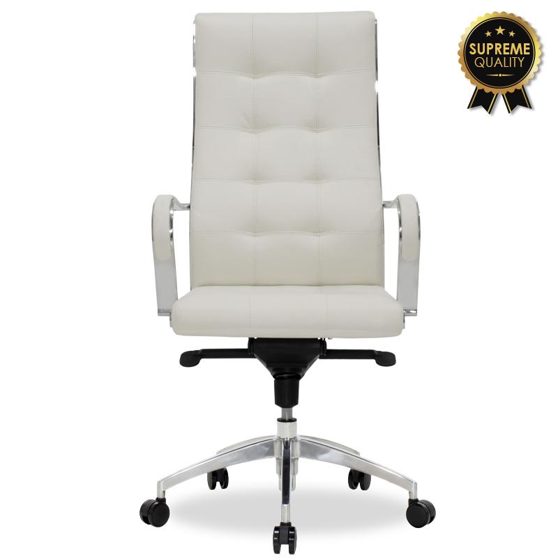 Καρέκλα Γραφείου Διευθυντή Alabama Supreme Quality Με White Ivory Τεχνόδερμα