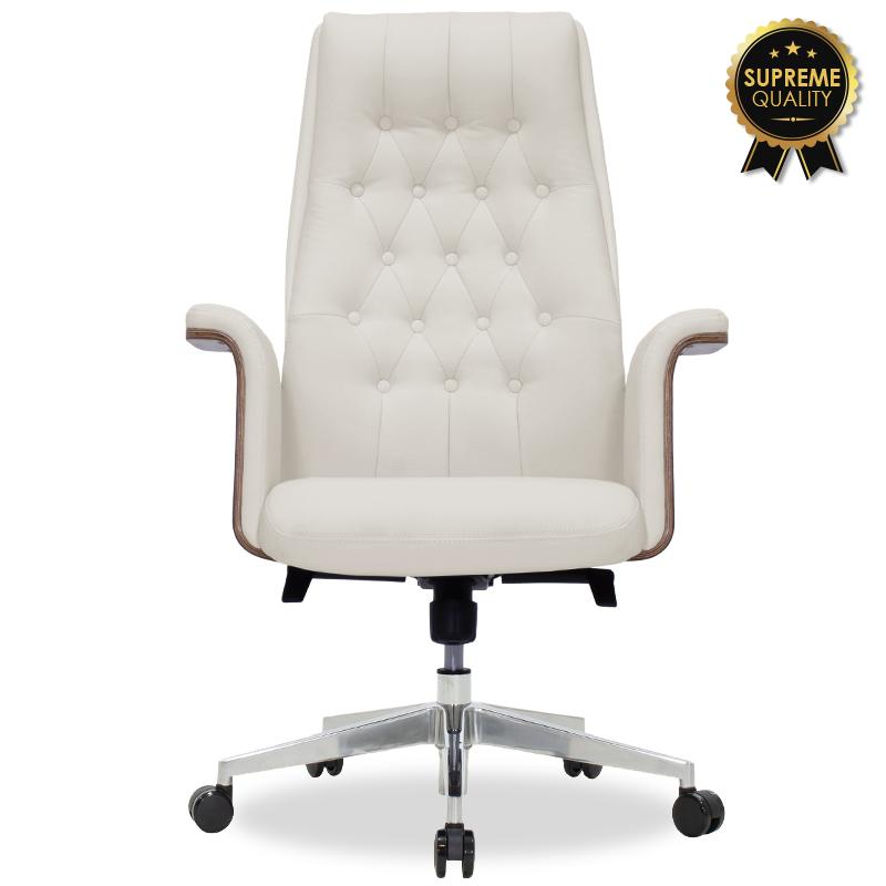 Καρέκλα Γραφείου Διευθυντή California Supreme Quality Με White Ivory Τεχνόδερμα