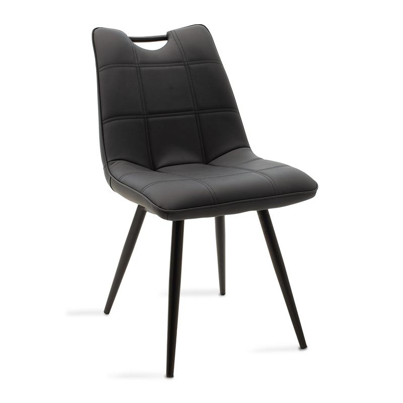 Καρέκλα Nely Pakoworld Μεταλλική Μαύρη Με Pu Μαύρο