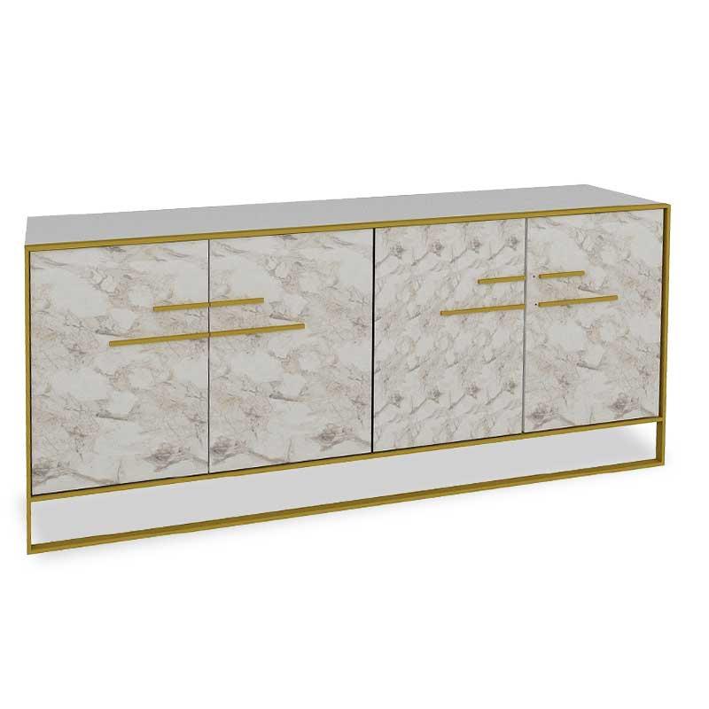 Μπουφές Pwf-0298 Pakoworld Χρώμα Λευκό Μαρμάρου-Χρυσό 180X47,5X75Εκ