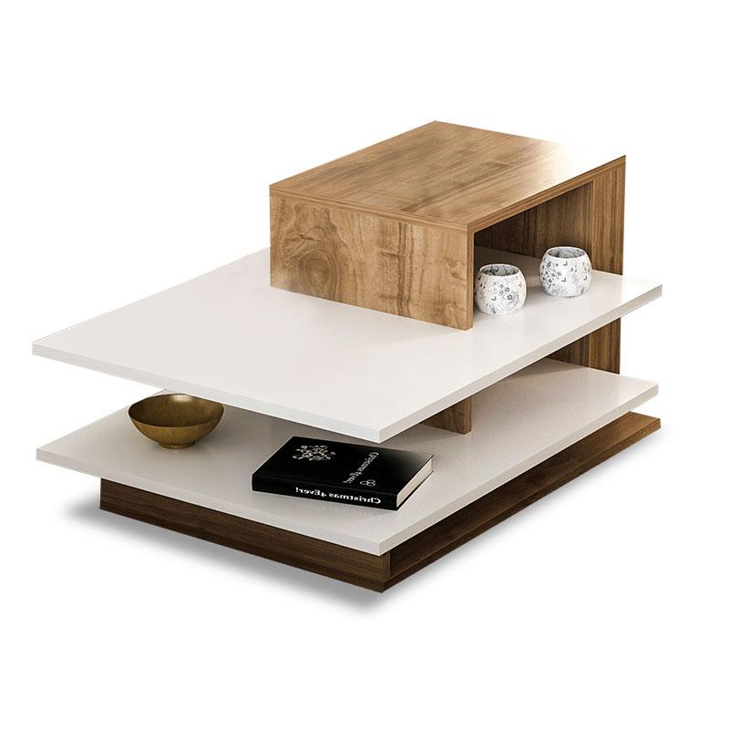 Τραπέζι Σαλονιού Pwf-0308 Pakoworld Χρώμα Καρυδί - Λευκό 85X60X43.5Εκ