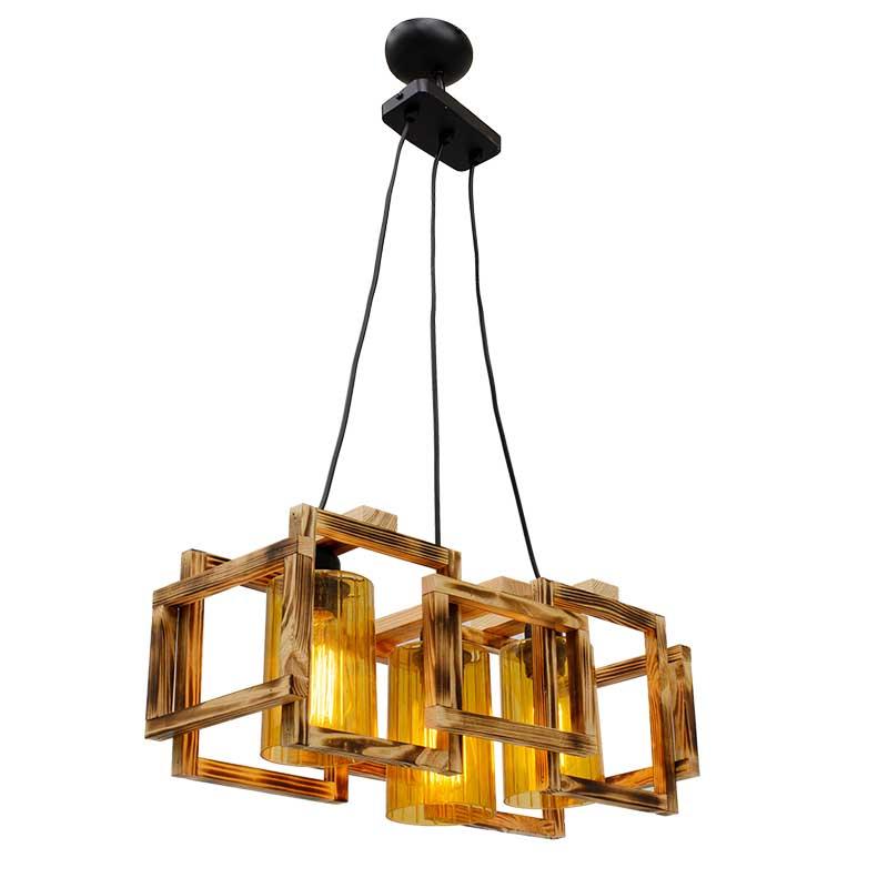 Φωτιστικό Οροφής Τρίφωτο Pwl-0111 Pakoworld Χρώμα Ανοικτό Καρυδί-Μαύρο 50X20X87Εκ