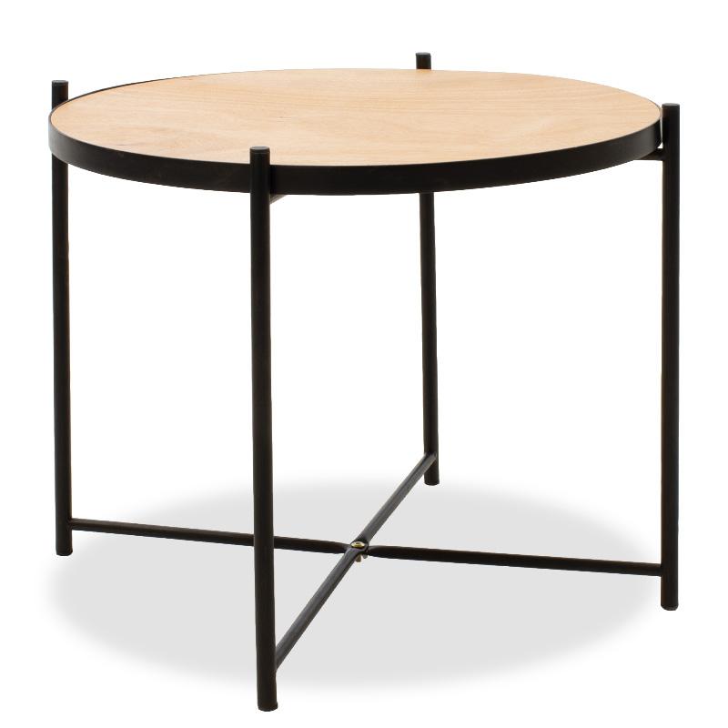 Τραπέζι Σαλονιού Siri Pakoworld Μαύρο-Φυσικό 60X60X48Εκ
