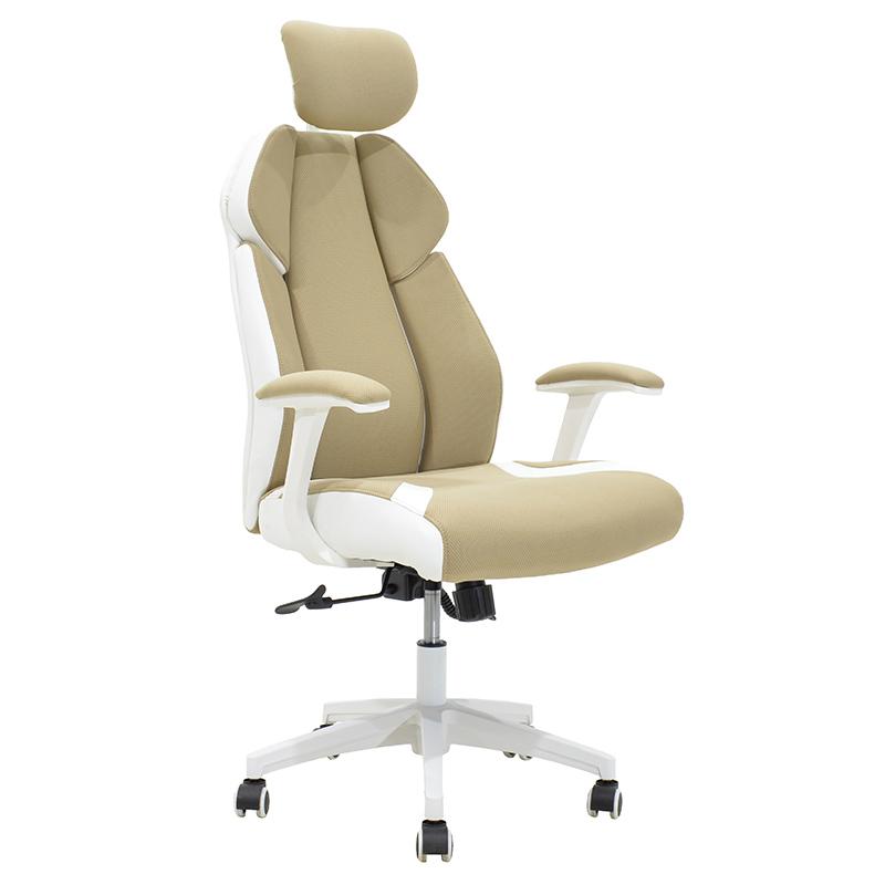 Καρέκλα Γραφείου Διευθυντή Momentum Bucket Μπεζ Ύφασμα Mesh-Πλάτη Pu Λευκό