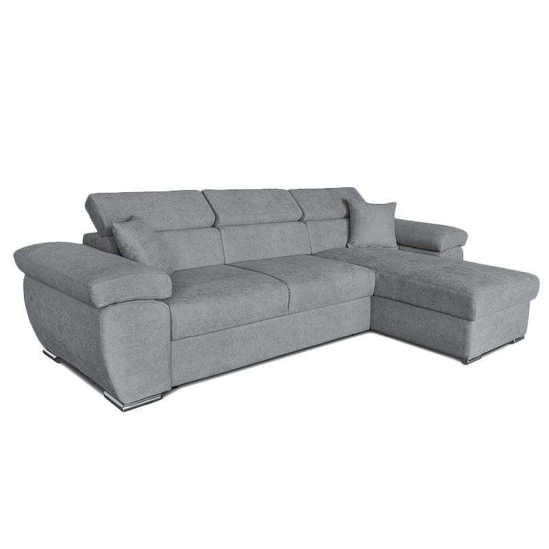 Γωνιακός Καναπές-Κρεβάτι Αναστρέψιμος Comy Pakoworld Γκρι 286X160X75-90Εκ