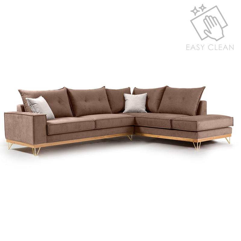 Γωνιακός Καναπές Αριστερή Γωνία Luxury Ii Pakoworld Ύφασμα Mocha-Cream 290X235X95Εκ