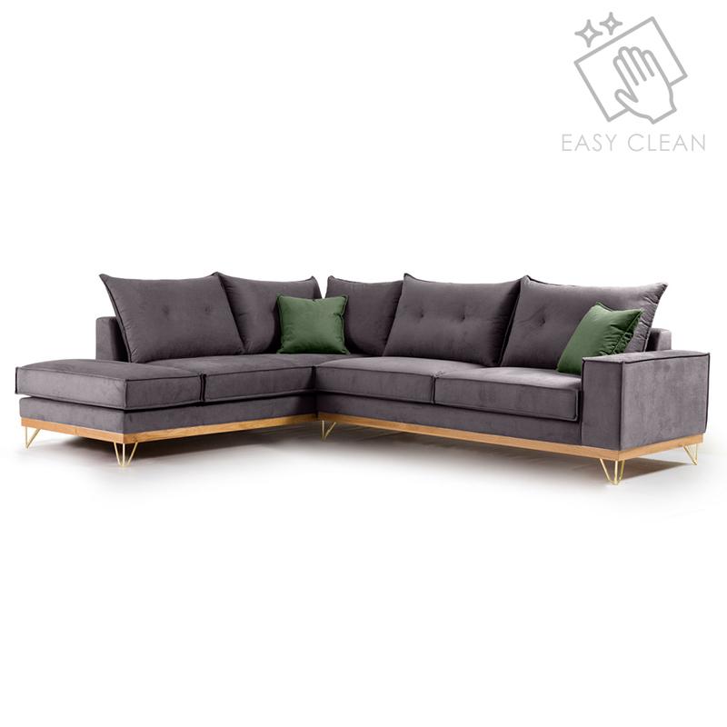 Γωνιακός Καναπές Δεξιά Γωνία Luxury Ii Pakoworld Ύφασμα Ανθρακί-Κυπαρισσί 290X235X95Εκ