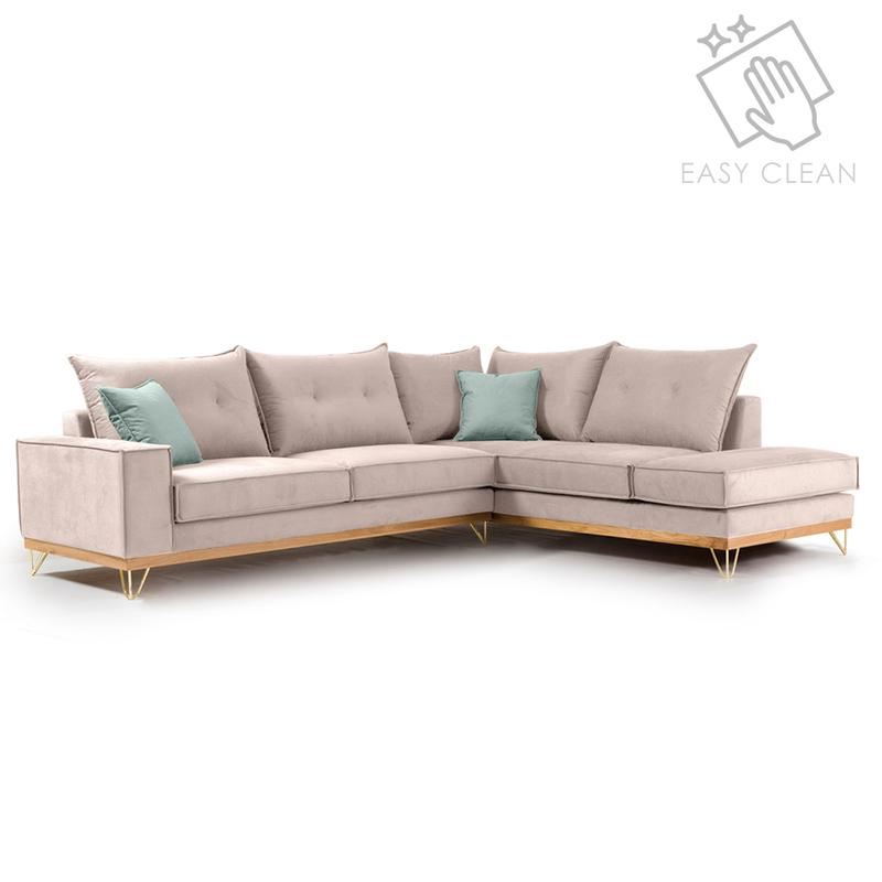 Γωνιακός Καναπές Αριστερή Γωνία Luxury Ii Pakoworld Ύφασμα Elephant-Ciel 290X235X95Εκ