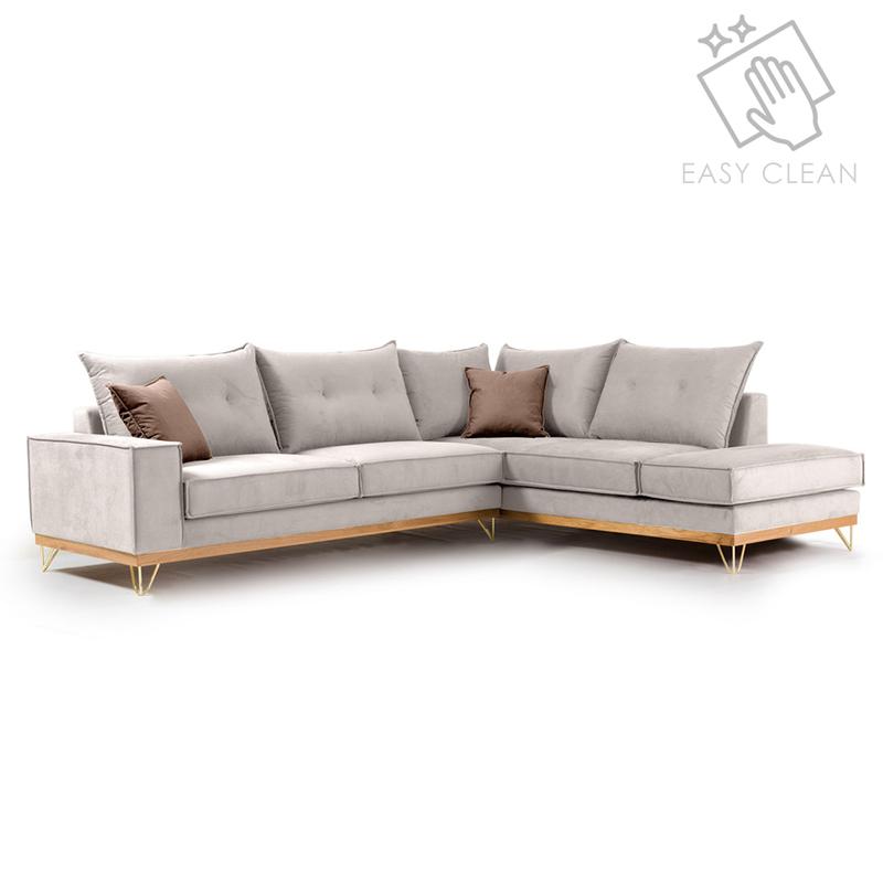 Γωνιακός Καναπές Αριστερή Γωνία Luxury Ii Pakoworld Ύφασμα Cream-Mocha 290X235X95Εκ