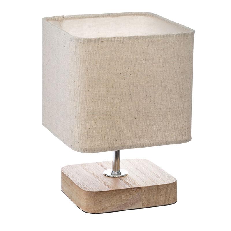 Επιτραπέζιο Φωτιστικό Sand Pakoworld Ξύλινο Μεταλλικό Φυσικό-Εκρού 15X15X21Εκ