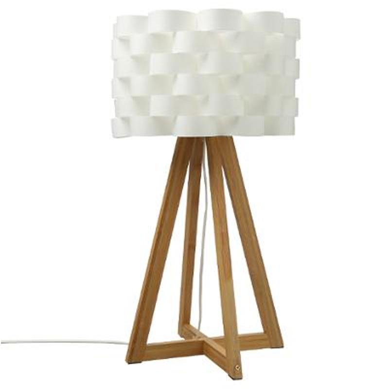 Επιτραπέζιο Φωτιστικό Moki Pakoworld Μπαμπού Χρώμα Φυσικό-Καπέλο Pp Λευκό Φ30X55Εκ