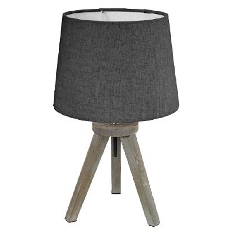 Επιτραπέζιο Φωτιστικό Trip Pakoworld Ξύλινο Χρώμα Γκρι Καφέ-Καπέλο Ανθρακί Φ18X30,5Εκ